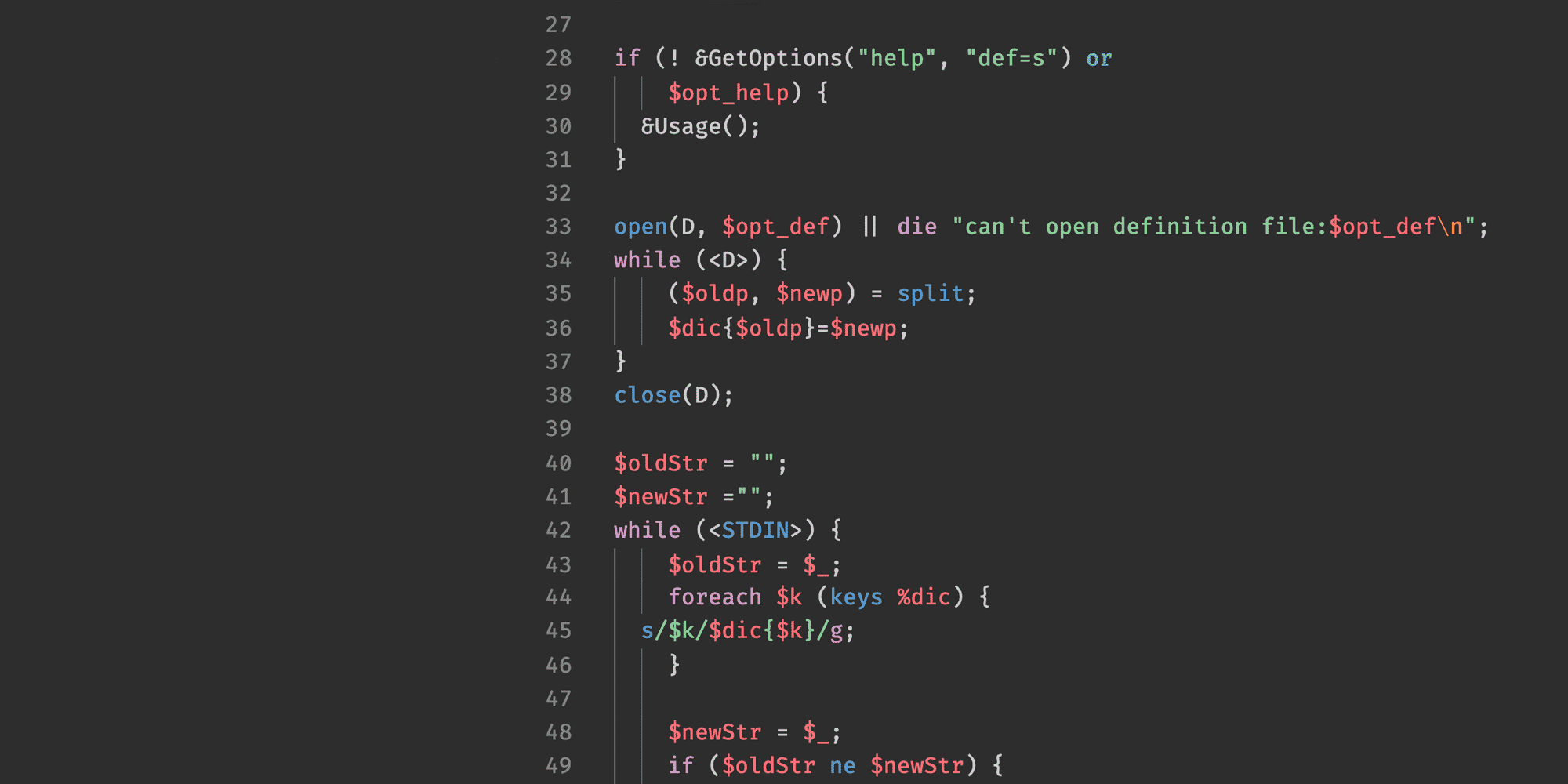 screen shot of some perl code against a dark color theme
