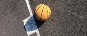 A still basketball on a basketball court
