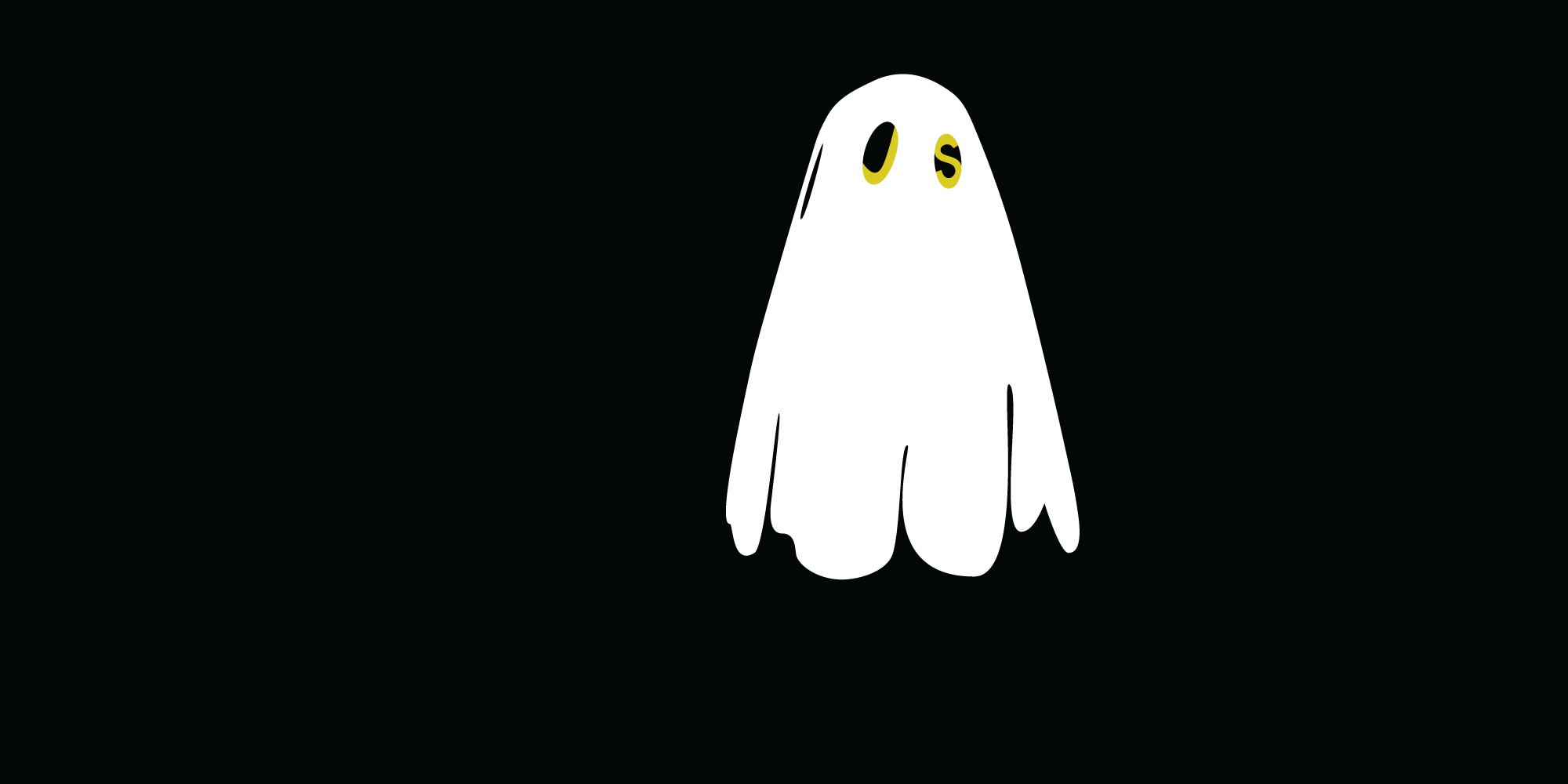 an Illustration of a ghost with the letters J and S for eyes